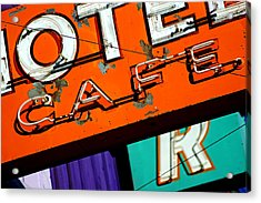 Hotel Cafe Bar In Alma Acrylic Print by Daniel Woodrum