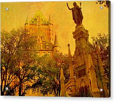 Hotel Chateau Frontenac And  Statue Acrylic Print by Rick Todaro