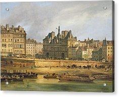 Hotel De Ville And Embankment, Paris, 1828 Oil On Canvas Acrylic Print