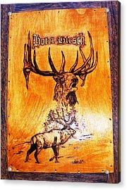 Hotel Elk - Wood Pyrography Acrylic Print by Egri George-Christian
