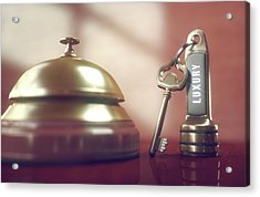 Hotel Key And Bell Acrylic Print by Ktsdesign/science Photo Library