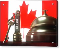 Hotel Key And Bell With Canadian Flag Acrylic Print