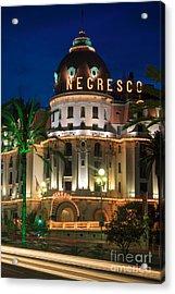 Hotel Negresco By Night Acrylic Print by Inge Johnsson