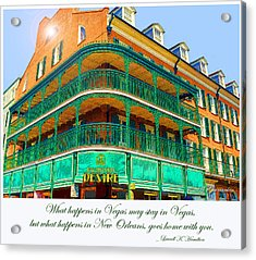 Hotel On Bourbon Street New Orleans Louisiana Acrylic Print