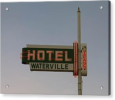 Hotel Waterville Neon Sign Acrylic Print