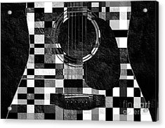 Hour Glass Guitar Random Bw Squares Acrylic Print by Andee Design