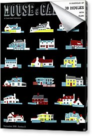 House & Garden Cover Illustration Of 18 Houses Acrylic Print