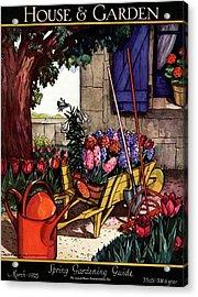 House & Garden Cover Illustration Of Garden Scene Acrylic Print