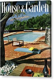 House And Garden Cover Featuring A Terrace Acrylic Print by Georges Braun
