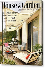 House And Garden Cover Of A Furnished Patio Acrylic Print by Julius Shulman