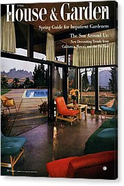 House And Garden Featuring A Living Room Acrylic Print by Julius Shulman