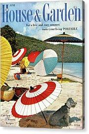 House And Garden Featuring Umbrellas On A Beach Acrylic Print