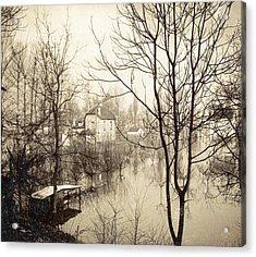 House Flooded Suburb Of Paris Seen Through Bare Trees Acrylic Print