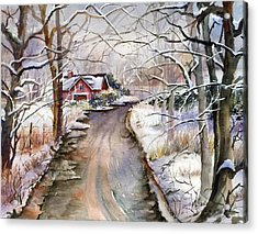 House In Snow Acrylic Print by Beth Kantor