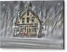 House In Snow Acrylic Print by Dan Friend