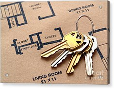House Keys On Real Estate Housing Floor Plans Acrylic Print by Olivier Le Queinec