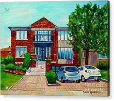 House Portrait-house  Art-commissioned  Montreal Paintings-carole Spandau Acrylic Print