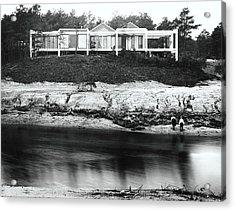 House With Glass Gabled Roofs Near A Beach Acrylic Print