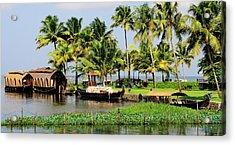 Houseboats Docked Along Shore Acrylic Print