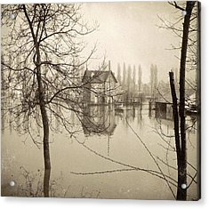 Houses In Flooded Suburb Of Paris Seen Through Bare Trees Acrylic Print