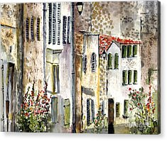 Acrylic Print featuring the painting Houses In La Rochelle France by Ginette Callaway