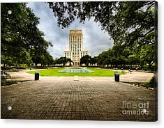 Houston City Hall On A Weekend Morning Acrylic Print by Dee Zunker