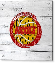 Houston Rockets Basketball Team Retro Logo Vintage Recycled Texas License Plate Art Acrylic Print by Design Turnpike