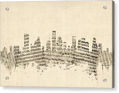 Houston Texas Skyline Sheet Music Cityscape Acrylic Print