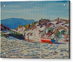 Acrylic Print featuring the painting Hout Bay Beach With Table Mountain by Thomas Bertram POOLE