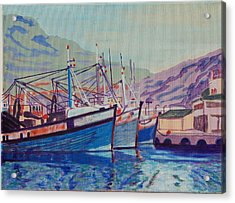 Acrylic Print featuring the painting Hout Bay Fishing Boats by Thomas Bertram POOLE