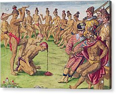 How A Sentry Was Treated For Negligence Acrylic Print by Jacques Le Moyne