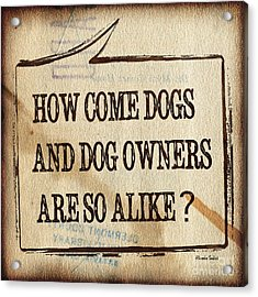 How Come Dogs And Dog Owners Are So Alike Acrylic Print by Hiroko Sakai