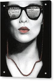 How Do I Love Thee...let Me Count Your Money Acrylic Print by Pat Erickson