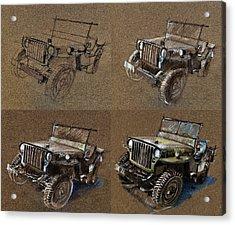 How To Draw A 1943 Willys Jeep Mb Car Acrylic Print by Daliana Pacuraru