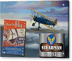How To Fly Stearman Pt-17 Acrylic Print by Stuart Swartz