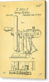 Howe Sewing Machine Patent Art 1846  Acrylic Print