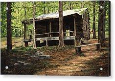 Howell Log Cabin - Hartshorn Acrylic Print by Don  Langeneckert