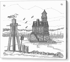 Acrylic Print featuring the drawing Hudson-athens Lighthouse by Richard Wambach