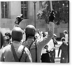 Huey Newton Rally In Sf Acrylic Print by Underwood Archives Thornton