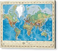 Huge Hi Res Mercator Projection Physical And Political Relief World Map Acrylic Print