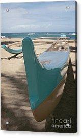 hui o waa Kuau Outrigger Canoe Paia Acrylic Print by Sharon Mau