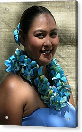 Hula Blue Acrylic Print by James Temple