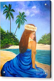 Acrylic Print featuring the painting Hula Girl On The Beach by Jenny Lee