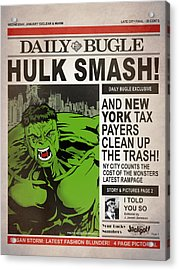 Hulk Smash - Daily Bugle Acrylic Print by Mark Rogan