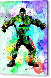 Hulk Watercolor Acrylic Print by Daniel Janda