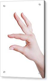 Human Hand In A Measuring Gesture Acrylic Print by Wladimir Bulgar