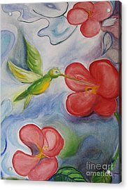 Hummingbird And Hibiscus Acrylic Print by Teresa Hutto