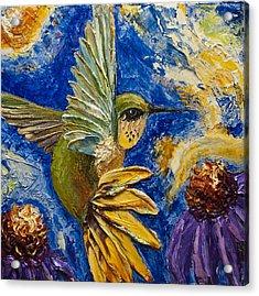 Hummingbird And Purple Cone Flowers Acrylic Print by Paris Wyatt Llanso