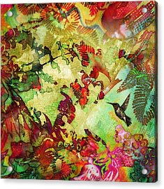 Hummingbird In Flower Heaven - Square Acrylic Print