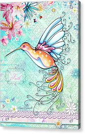 Hummingbird Inspirational Floral Painting Art Quote Faith By Megan Duncanson Acrylic Print